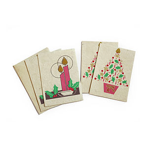 Candle And Tree Pink Christmas Card Set 4pk