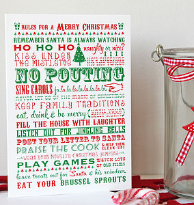 'Rules For A Merry Christmas' Card Pack - cards & wrap