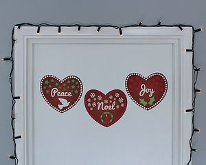 Set Of Heart Christmas Wall Stickers