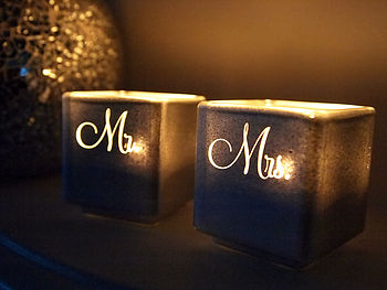 Engraved Mr And Mrs Tealight Candle Holder