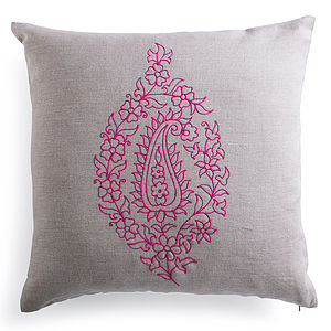 Embroidered Paisley Cushion