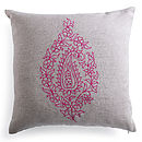 Embroidered Linen Cushion Pink, White Or Yellow