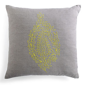 Embroidered Yellow Paisley Linen Cushion - cushions