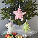 Felt Button Christmas Tree Decorations