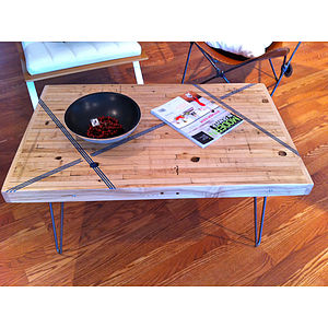 Reclaimed Coffee Table With Colour Inlay - furniture