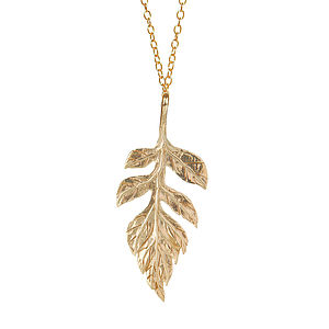 18k Gold Plated Sorbus Leaf Necklace