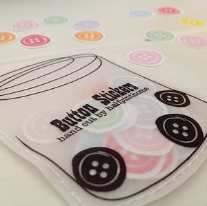 Hand Cut Multi Coloured Button Stickers