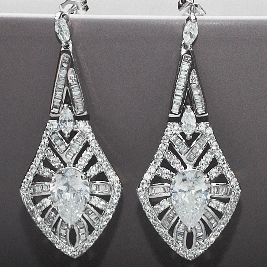 Art Deco Vintage Style Crystal Earrings By Queens Amp Bowl