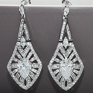 Art Deco Vintage Style Crystal Earrings - bridal jewellery