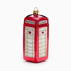 Phone Box Glass Christmas Decoration