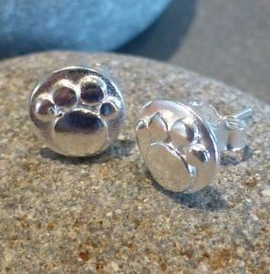Mini Silver Paw Print Studs - earrings