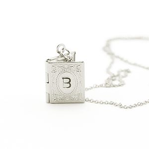 Silver Personalised Mini Book Locket - necklaces & pendants