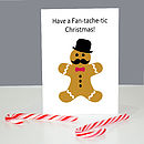Gingerbread Man Moustache Christmas Cards