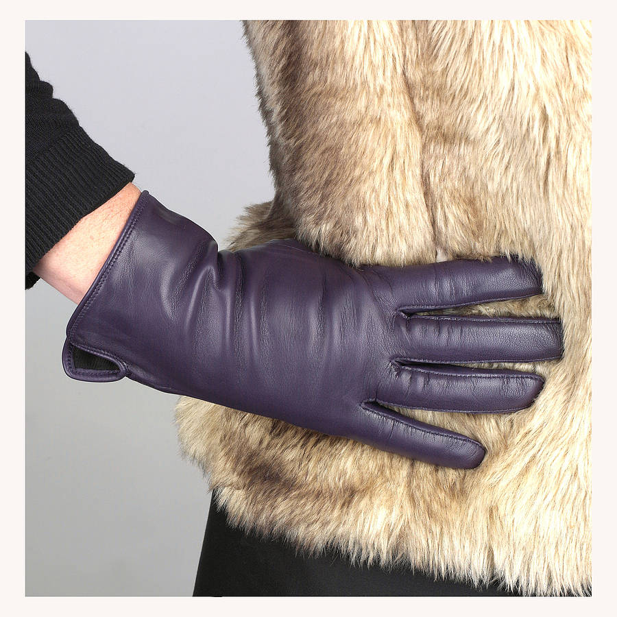 Womens lined leather gloves - Eve Womens Silk Lined Purple Leather Glove