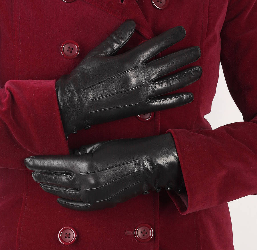 Black leather gloves female - Kate Women S Silk Lined On Leather Gloves By Southbe Black