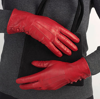 Kate. Women's Silk Lined Button Leather Gloves