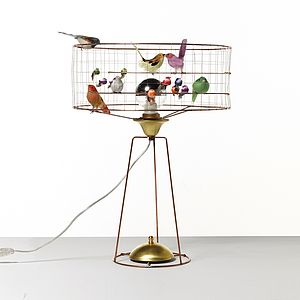 Copper Bird Cage Table Lamp - bedroom