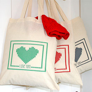 'I Love Yarn' Knitting Tote Bag - gifts for teenagers