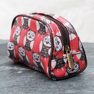 Red Owl Print Make Up Bag - make-up bags