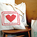 'I Love Yarn' Knitting Tote Bag