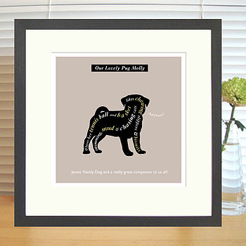 charcoal brown pug print with mount & black frame