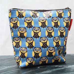 Blue Owl Print Wash Bag - mother's day gifts