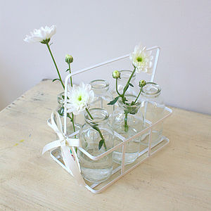 Set Of Six Milk Bottles In A Crate - flowers, plants & vases