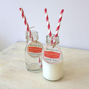 Mini Glass School Milk Bottle - storage & organisers