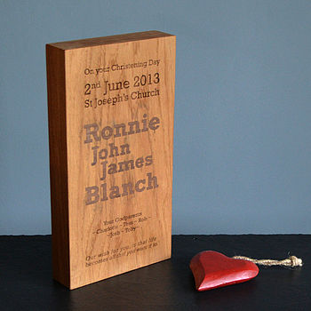 Personalised Christening Wood Block