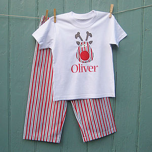 Christmas Personalised Reindeer Pyjama Set