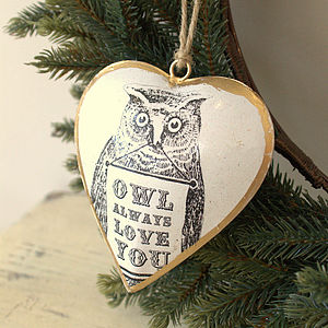 'Owl Always Love You' Hanging Decoration - tree decorations