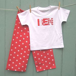 Personalised Applique Red Star Pyjama - nightwear