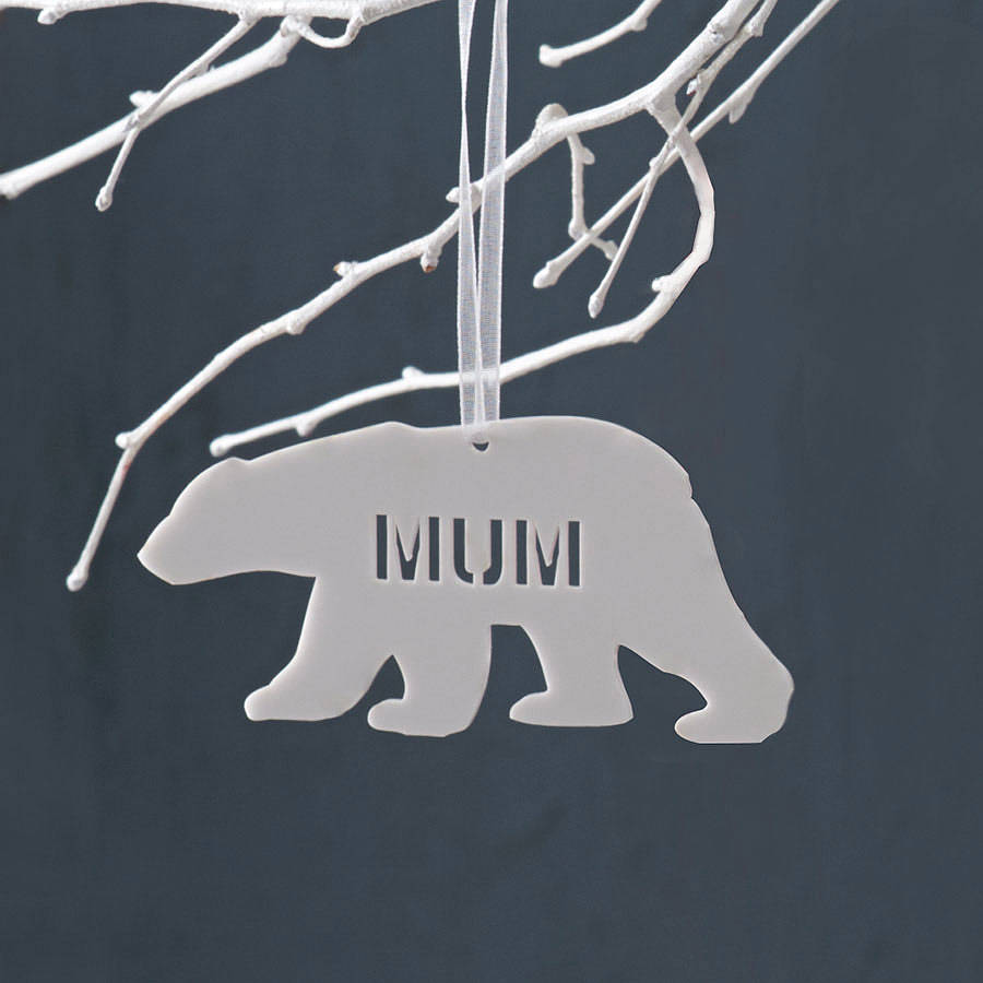 personalised polar bear christmas decoration white acrylic - Bear Christmas Decorations