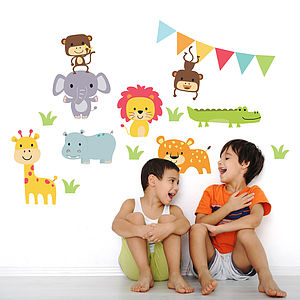 Jungle Animal Childrens Wall Stickers - office & study