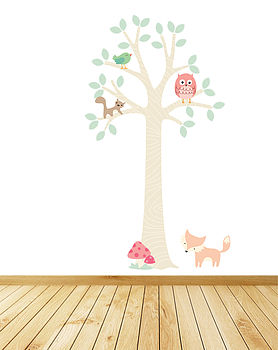 Pastel Forest Tree With Owl Wall Stickers