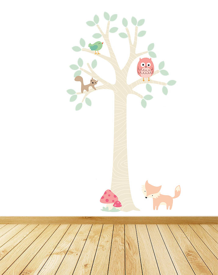 pastel woodland tree with owl wall stickers by parkins
