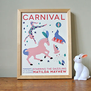 Personalised Girl's Carnival Night Print