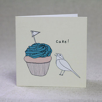 Bird And Cake Birthday Card