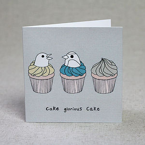 Bird And Cupcake Birthday Card
