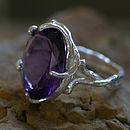 Silver And Purple Zirconia Dress Ring