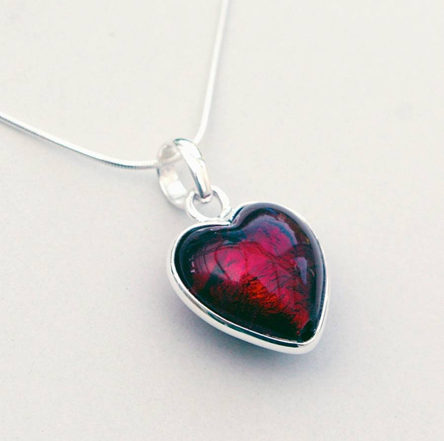 handmade our red necklace pendant from heart hands products glass jewelry