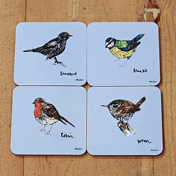 Garden Birds Melamine Coaster Set