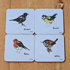 Garden Birds Melamine Coaster Set