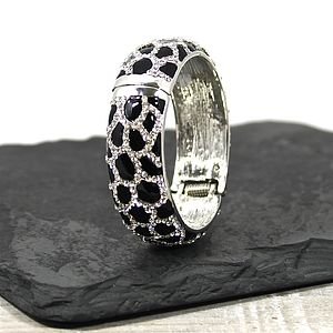 Leopard Print Crystal Bangle - bracelets & bangles
