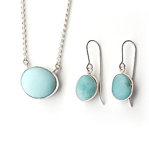 Baby Blue Milk Glass Pendant And Earrings Set - jewellery sets