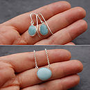 Baby Blue Milk Glass Pendant And Earrings Set