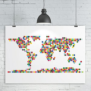 Hexagons World Map Print - treasured locations & memories