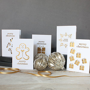 Laser Cut Christmas Card Set Of Five - cards & wrap