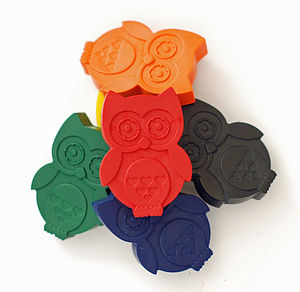 Set Of Six Owl Crayons - toys & games