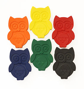 Set Of Six Owl Crayons - stocking fillers under £15